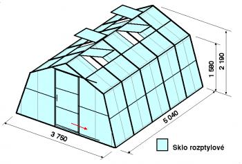 Skleník SA1-5m-zasklení D