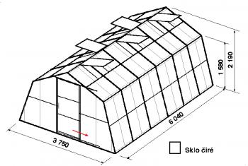 Skleník SA1-6m-zasklení B
