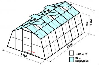Skleník SA1-6m-zasklení C