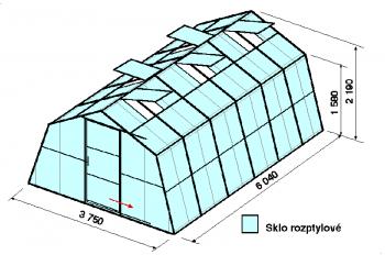 Skleník SA1-6m-zasklení D
