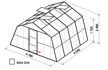 Skleník SA3-4m-zasklení B