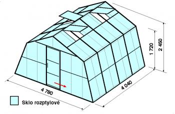Skleník SA3-4m-zasklení D