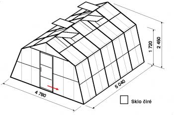 Skleník SA3-5m-zasklení B