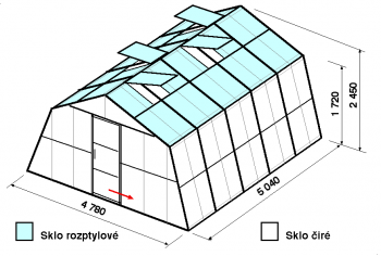 Skleník SA3-5m-zasklení C