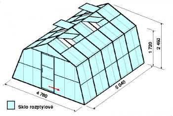 Skleník SA3-5m-zasklení D