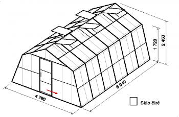 Skleník SA3-6m-zasklení B