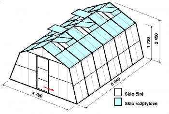 Skleník SA3-6m-zasklení C