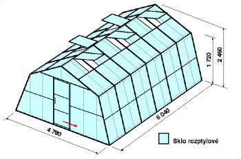 Skleník SA3-6m-zasklení D