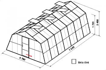 Skleník SA3-7m-zasklení B