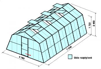 Skleník SA3-7m-zasklení D