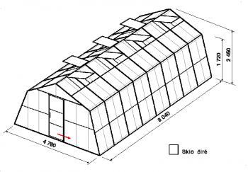 Skleník SA3-8m-zasklení B