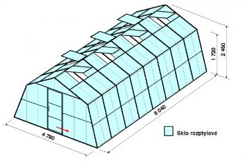 Skleník SA3-8m-zasklení D