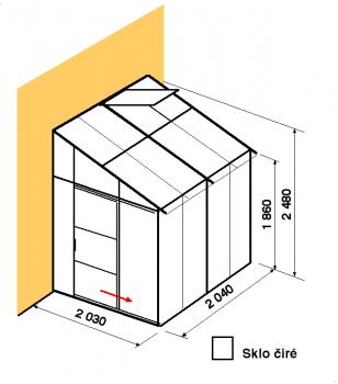 Skleník ke zdi DA2-2m-zasklení B