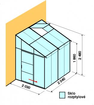 Skleník ke zdi DA2-2m-zasklení D