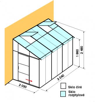 Skleník ke zdi DA2-3m-zasklení C