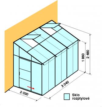 Skleník ke zdi DA2-3m-zasklení D
