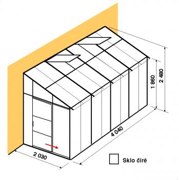 Skleník ke zdi DA2-4m-zasklení B