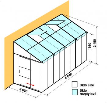 Skleník ke zdi DA2-4m-zasklení C