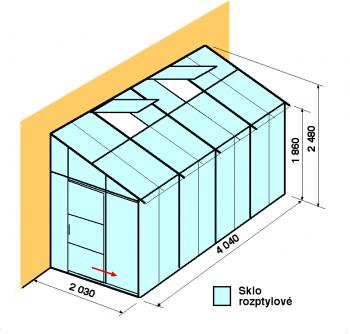 Skleník ke zdi DA2-4m-zasklení D