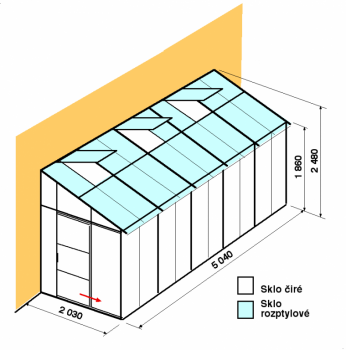 Skleník ke zdi DA2-5m-zasklení C