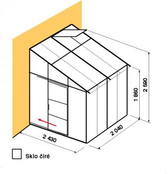 Skleník ke zdi DA2,4-2m-zasklení B