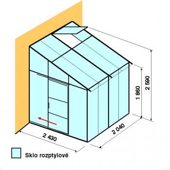 Skleník ke zdi DA2,4-2m-zasklení D