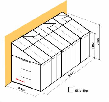 Skleník ke zdi DA2,4-5m-zasklení B