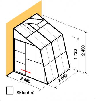 Skleník ke zdi SZ2,5-2m-zasklení B