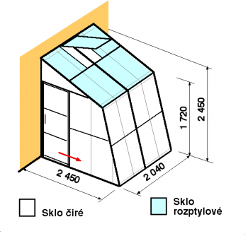 Skleník ke zdi SZ2,5-2m-zasklení C