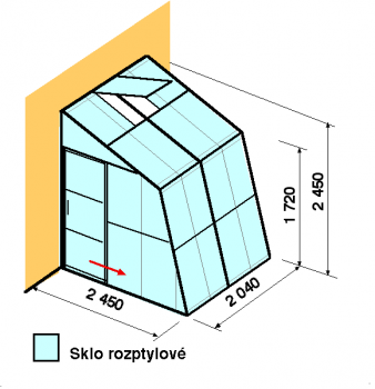 Skleník ke zdi SZ2,5-2m-zasklení D