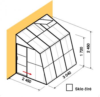 Skleník ke zdi SZ2,5-3m-zasklení B