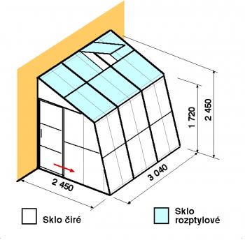 Skleník ke zdi SZ2,5-3m-zasklení C