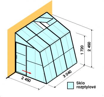 Skleník ke zdi SZ2,5-3m-zasklení D