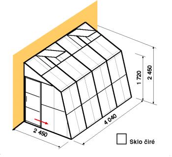 Skleník ke zdi SZ2,5-4m-zasklení B
