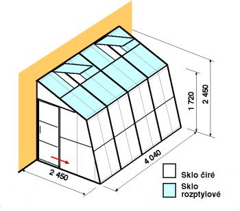 Skleník ke zdi SZ2,5-4m-zasklení C