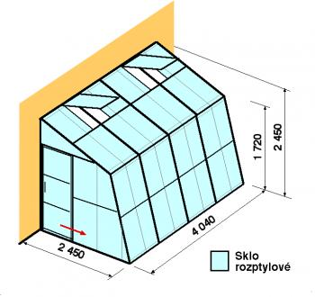 Skleník ke zdi SZ2,5-4m-zasklení D