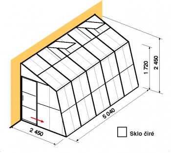 Skleník ke zdi SZ2,5-5m-zasklení B