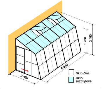 Skleník ke zdi SZ2,5-5m-zasklení C