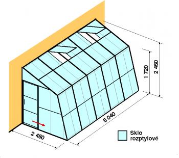 Skleník ke zdi SZ2,5-5m-zasklení D