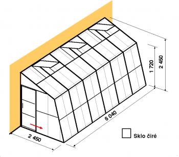 Skleník ke zdi SZ2,5-6m-zasklení B