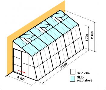 Skleník ke zdi SZ2,5-6m-zasklení C