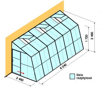 Skleník ke zdi SZ2,5-6m-zasklení D