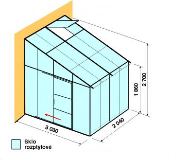 Skleník ke zdi DA3-2m-zasklení D