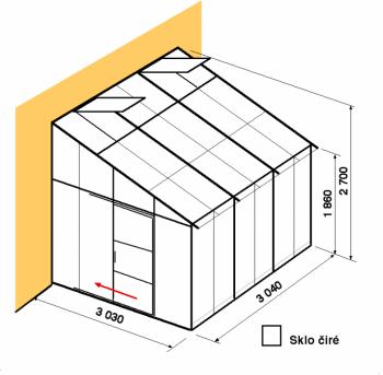 Skleník ke zdi DA3-3m-zasklení B