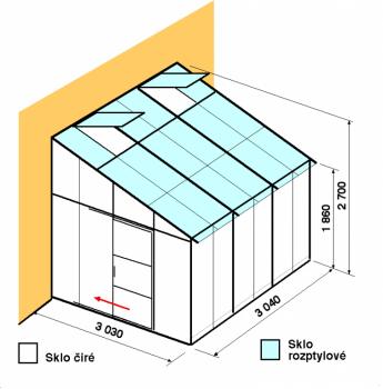 Skleník ke zdi DA3-3m-zasklení C