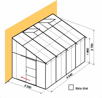 Skleník ke zdi DA3-4m-zasklení B