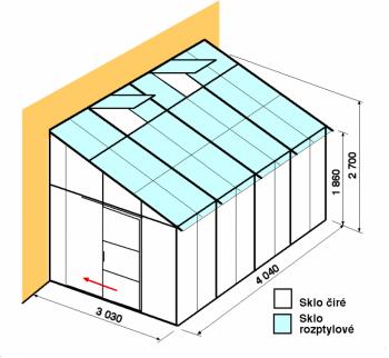 Skleník ke zdi DA3-4m-zasklení C