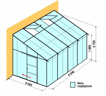 Skleník ke zdi DA3-4m-zasklení D