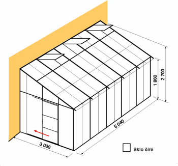 Skleník ke zdi DA3-5m-zasklení B