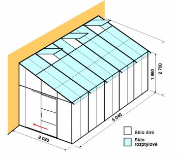 Skleník ke zdi DA3-5m-zasklení C